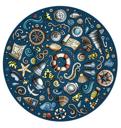 Set of marine nautical cartoon objects vector