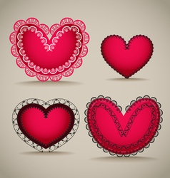 Ornamentel red Valentines day hearts vector image
