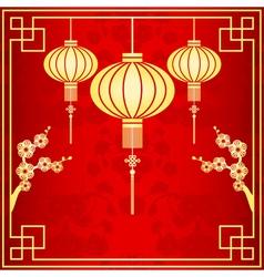Oriental chinese lantern vector