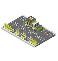 Shopping center parking composition vector