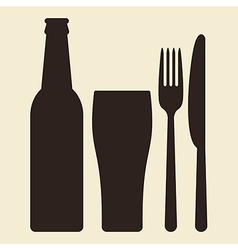 Bottle glass of beer and cutlery vector