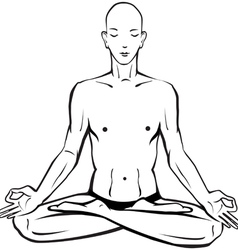 Sketch of man in meditating and doing yoga poses vector