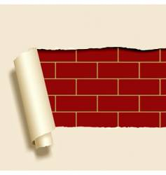 ripped paper on brick wall vector image