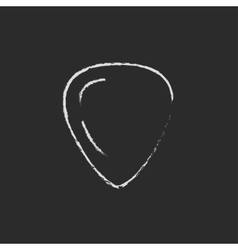 Guitar pick icon drawn in chalk vector