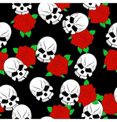 Seamless pattern with skulls vector