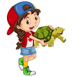 Little girl and green turtle vector