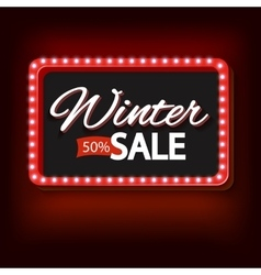 Winter sale with purple lights vintage frame vector