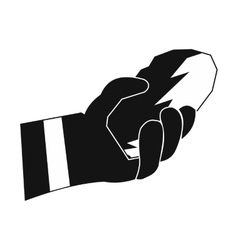 Hand holding a bunch of coal icon vector