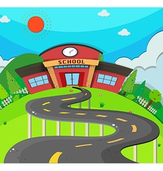 School scene with road to the school vector image