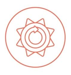 Sun with round arrow line icon vector
