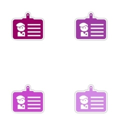 Set of paper stickers on white background identity vector