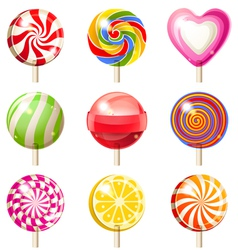 9 lollipop icons vector