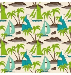 Palm trees island and boats pattern summer vector image