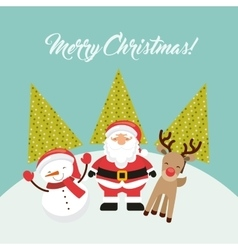 Santa snowman reindeer icon merry christmas vector