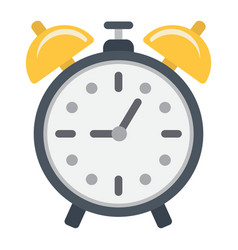 Alarm clock flat icon time and deadline vector