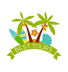 Banner with the inscription best tours palm trees vector image vector image