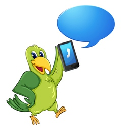 Bird with cell phone vector image