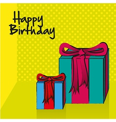 Birthday card with gift boxes vector