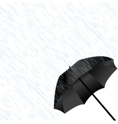 black umbrella in the rain vector image