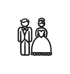Bride and groom sketch icon vector