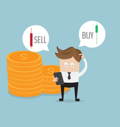 businessman confused for select sell or buy forex vector image