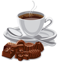 coffee cup and sweets vector image