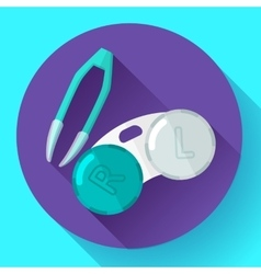Contact lens case container and tweezers for vector