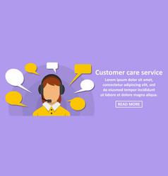 customer care service banner horizontal concept vector image vector image