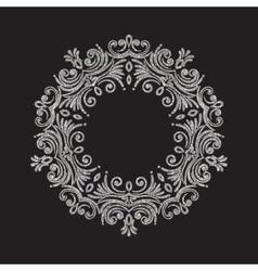Elegant luxury vintage circle silver floral frame vector