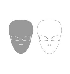 Extraterrestrial alien face or head grey set icon vector