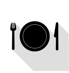 fork plate and knife black icon with flat style vector image vector image