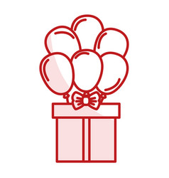 Giftbox present with ballons air isolated icon vector