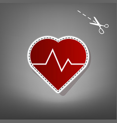 Heartbeat sign red icon with vector