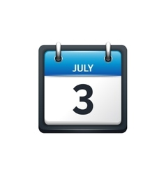 July 3 calendar icon flat vector