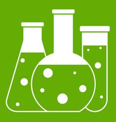 laboratory flasks icon green vector image vector image