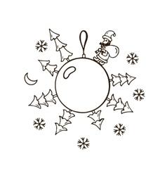 Merry christmas balls doodle pattern Santa Claus vector image vector image