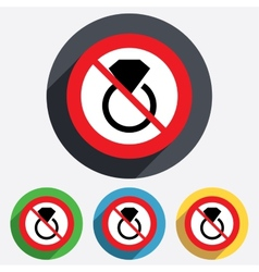 No jewelry sign icon ring with diamond symbol vector