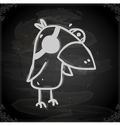 Parrot Drawing on Chalk Board vector image