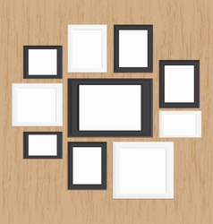 Picture frame gallery on wood vector