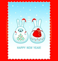 Rabbit Santa New Year card vector image