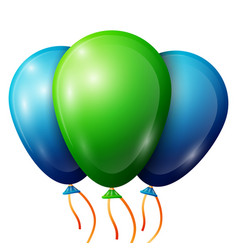 Realistic green blue balloons with ribbons vector