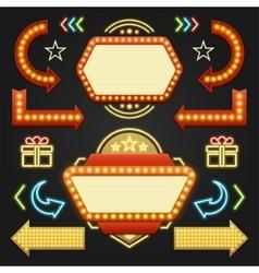 Retro showtime signs design elements set bright vector