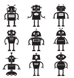 Robot silhouettes set vector image
