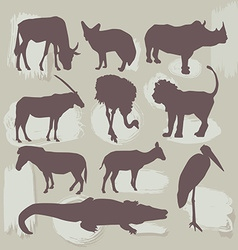 Set of African animals Silhouette vector image vector image