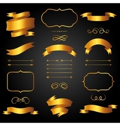 Set of golden arrows ribbons and labels in retro vector