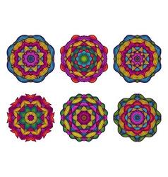 Set of mandalas beautiful hand drawn flowers vector