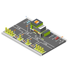 Shopping center parking composition vector