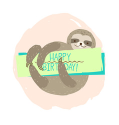 sloth element of card vector image