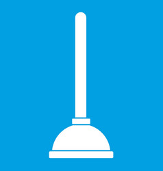Toilet plunger icon white vector