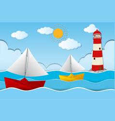 Two paper boats sailing at sea vector